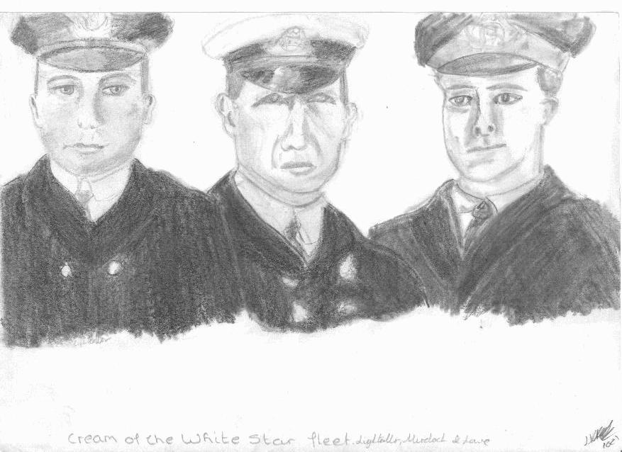 Second Officer Lightoller, First Officer Murdoch and Fifth Officer Lowe